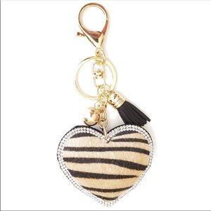 Zebra Print Heart Key Chain/Purse Charm